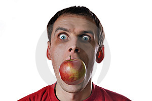 Male Head With Red Apple Stock Images - Image: 9057314