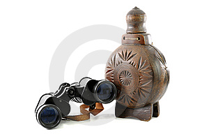 Old Binocular And Wooden Bottle Stock Image - Image: 9057451