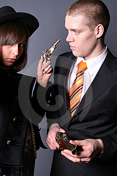 Couple Of Gangsters Royalty Free Stock Image - Image: 9059376