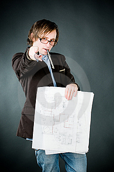 Young Architect With Sketch Royalty Free Stock Photos - Image: 9063798