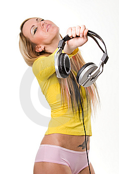 Attractive Young Woman With Headphones Over White Stock Photos - Image: 9064273