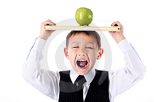 Schoolboy With Book And Apple Stock Images - Image: 9064304