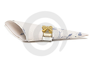 Paper Napkin With Gold Bows Stock Image - Image: 9066581