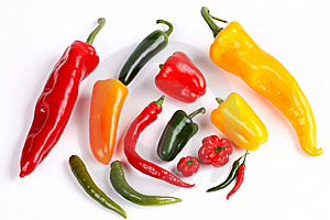 Various Peppers On White Royalty Free Stock Photo - Image: 9068575