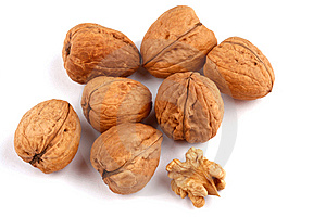 Walnuts On White Royalty Free Stock Images - Image: 9068909