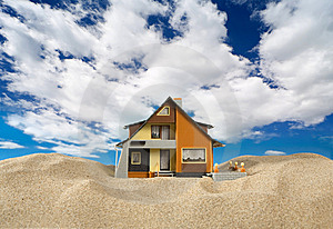 House On Sand. Royalty Free Stock Images - Image: 9071259