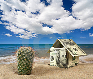 Dollar House On Sand. Royalty Free Stock Photos - Image: 9071368