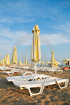 Sunbeds On The Beach Royalty Free Stock Image - Image: 9071976