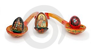 Easter Eggs In Russian Wooden Painted Spoons Royalty Free Stock Image - Image: 9077686