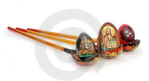 Easter Eggs In Russian Wooden Painted Spoons Stock Photo - Image: 9077690