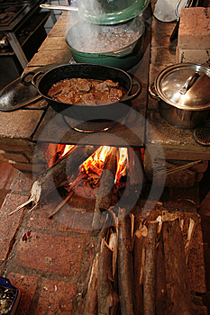Cooking Over Open Fire Stock Image - Image: 9079981