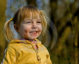 Little Girl Looks At A Sunset Stock Photo - Image: 9081150