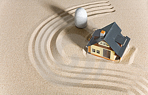 House On Sand. Royalty Free Stock Images - Image: 9083739