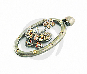 An Oval Brooch Isolated Royalty Free Stock Photography - Image: 9084187