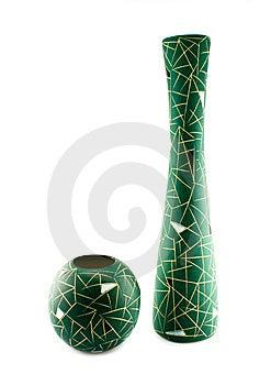 Twee Groene Geïsoleerde Vazen Stock Afbeelding - Afbeelding: 9084321