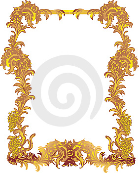 Golden Frame With Grapes Royalty Free Stock Photos - Image: 9084838