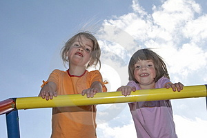 Twins On Climbing Pole 02 Stock Images - Image: 911064