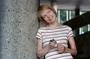 Girl Speak Cellular Royalty Free Stock Photos - Image: 911408