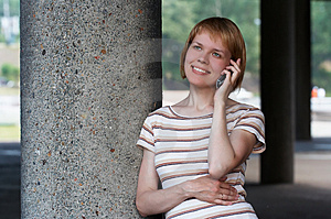 Girl Speak Cellular Royalty Free Stock Image - Image: 911436