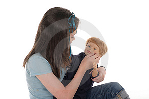 Girl Playing With Doll 2 Stock Photo - Image: 917540