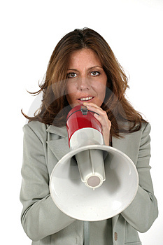 Attractive Business Woman With Megaphone 3 Stock Photos