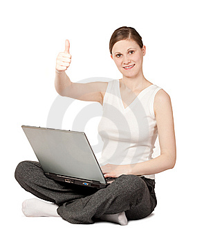 Joyful Woman With Laptop Stock Photo - Image: 9214830