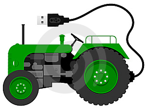 Small Tractor With With USB Cable Stock Photo - Image: 9215870