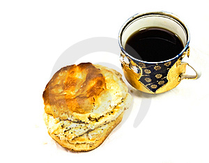 Cup Of Coffee/Tea Chicken Biscuit Royalty Free Stock Photo - Image: 9216585