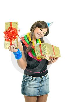 Happy Girl With A Present Royalty Free Stock Image - Image: 9218536
