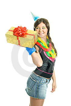 Happy Girl With A Present Stock Photography - Image: 9218562