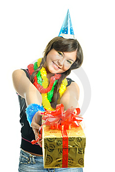 Girl Giving Us A Present Royalty Free Stock Photo - Image: 9218575