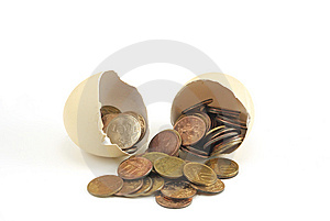 Coins In Egg Royalty Free Stock Photo - Image: 9219335