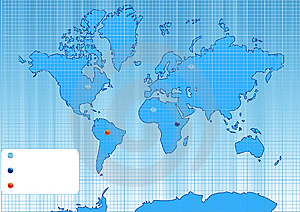 Checked World Map With Color Points. Stock Images - Image: 9219784