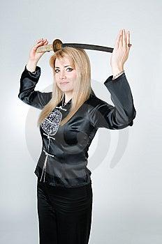 Beautiful Woman In Black Kimono With Sword Stock Image - Image: 9226981