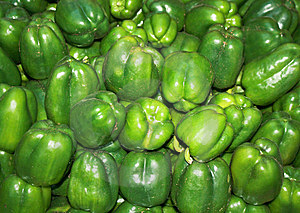 Group Of Green Paprika Bell Peppers In Market Stock Photos - Image: 9228983