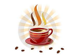 Aromatic Fresh Cup Of Coffee Over White Stock Photography - Image: 9229752