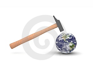 Hammer Hitting Earth Stock Photography - Image: 9232492