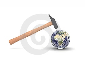 Hammer Hitting Earth Royalty Free Stock Photos - Image: 9232498