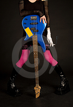 Close-up Of Girl With Bass Guitar And Cigarette Royalty Free Stock Images - Image: 9235679