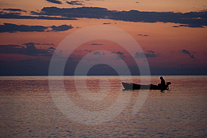 Fishing Boat In A Sunset Light Royalty Free Stock Image - Image: 9236226