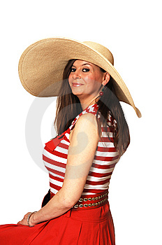 Woman In Red Dress And Hat. Royalty Free Stock Images - Image: 9236999