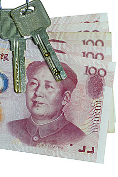 The China Currency With Two Key Royalty Free Stock Image - Image: 9239376