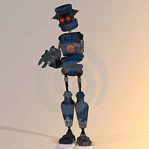 Cartoon Robot With Expressive Emotion In His Face Royalty Free Stock Photography - Image: 9241757