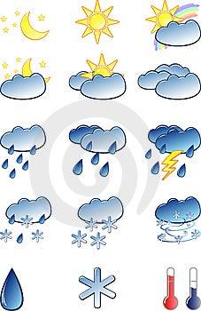 Weather Icons Set Royalty Free Stock Photography - Image: 9242527