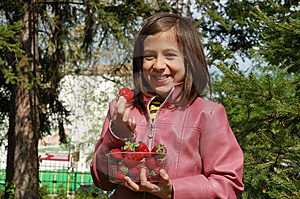 Girl With Strawberries Stock Photos - Image: 9243443