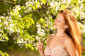 Woman under blossom tree in spring Stock Images