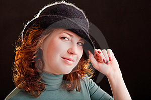 Young Girl In Black Hat Royalty Free Stock Images - Image: 9250429