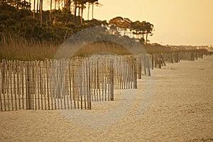 Erosion Fence On Deserted Beach Royalty Free Stock Photography - Image: 9250437