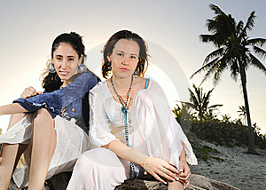 Two Girls On The Beach Royalty Free Stock Photography - Image: 9251457