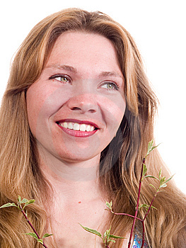 Woman With Branch Stock Photography - Image: 9252702